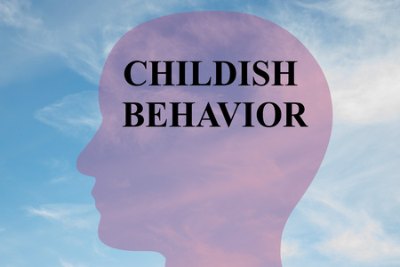 Render illustration of CHILDISH BEHAVIOR title on head silhouette, with cloudy sky as a background.