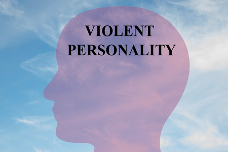 intimidation: Render illustration of VIOLENT PERSONALITY title on head silhouette, with cloudy sky as a background.