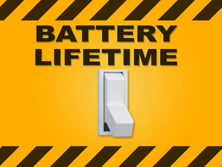 3D illustration of BATTERY LIFETIME title above an electric switch on yellow wall