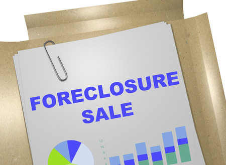 housing crisis: 3D illustration of FORECLOSURE SALE title on business document Stock Photo