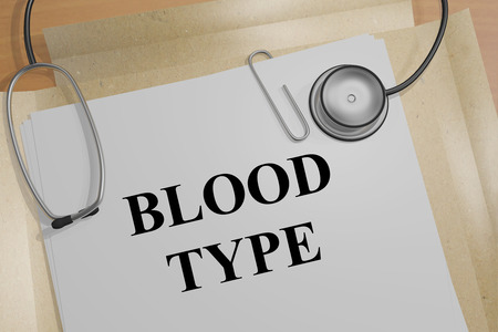 b cell: 3D illustration of BLOOD TYPE title on a medical document