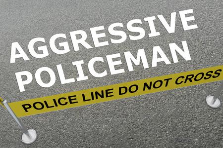地上では警察の分野で「積極的な警官が」タイトルの 3 D イラストレーション