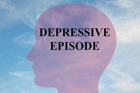 Render illustration of DEPRESSIVE EPISODE title on head silhouette, with cloudy sky as a background.