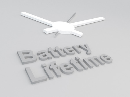 discharge time: 3D illustration of Battery Lifetime title with a clock as a background