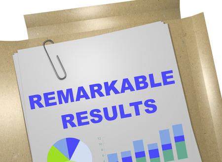 owner money: 3D illustration of REMARKABLE RESULTS title on business document