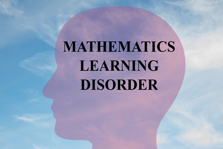 dyslexic: Render illustration of MATHEMATICS LEARNING DISORDER title on head silhouette, with cloudy sky as a background. Stock Photo