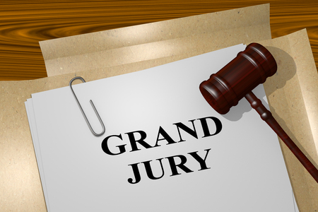 3D illustration of GRAND JURY title on legal document