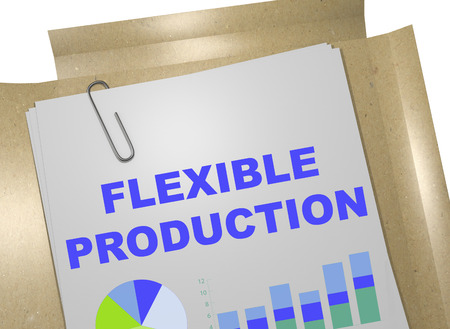 flexible business: 3D illustration of FLEXIBLE PRODUCTION title on business document