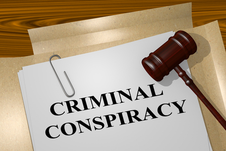 3D illustration of CRIMINAL CONSPIRACY title on legal document