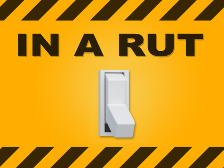 3D illustration of IN A RUT title above an electric switch on yellow wall Stock Photo