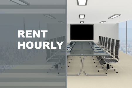 3D illustration of RENT HOURLY title on a glass compartment