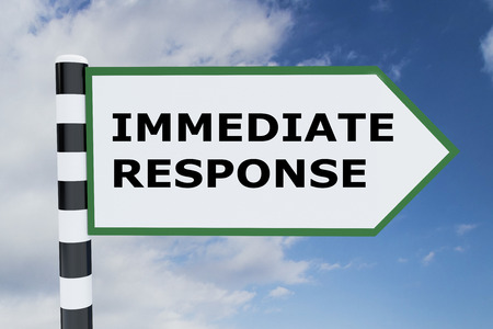 3D illustration of IMMEDIATE RESPONSE script on road sign Stock Photo