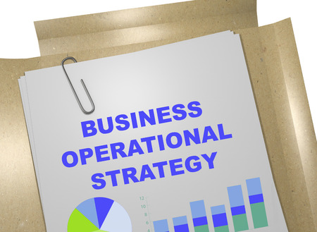 operational: 3D illustration of BUSINESS OPERATIONAL STRATEGY title on business document Stock Photo
