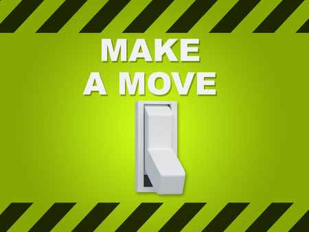strategize: 3D illustration of MAKE A MOVE title above an electric switch on green wall Stock Photo