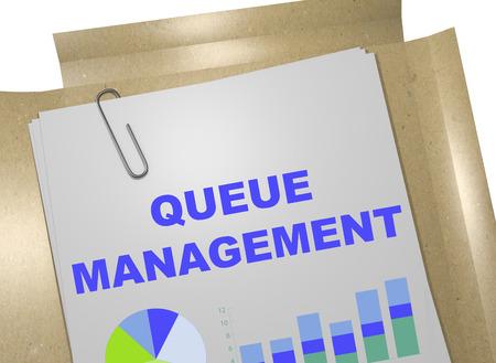 queuing: 3D illustration of QUEUE MANAGEMENT title on business document