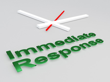 3D illustration of Immediate Response title with a clock as a background