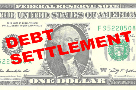 settlement: Render illustration of DEBT SETTLEMENT title on One Dollar bill as a background Stock Photo