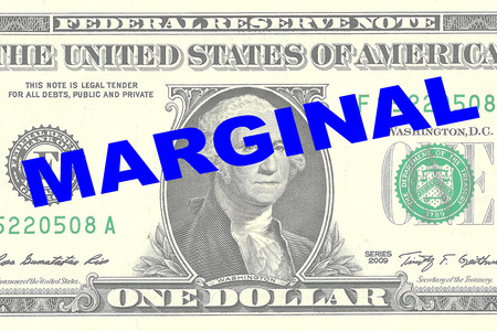 price gain: Render illustration of MARGINAL title on One Dollar bill as a background