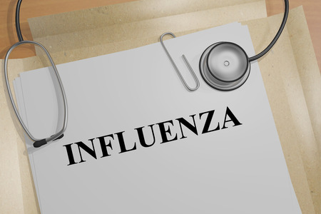 influenza: 3D illustration of INFLUENZA title on a medical document