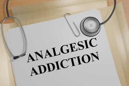 3D illustration of ANALGESIC ADDICTION title on a medical document