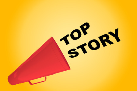 3D illustration of TOP STORY title flowing from a loudspeaker