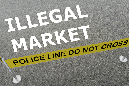 illegally: 3D illustration of ILLEGAL MARKET title on the ground in a police arena
