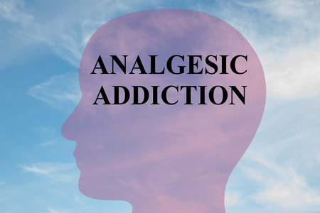 opioid: Render illustration of ANALGESIC ADDICTION title on head silhouette, with cloudy sky as a background.