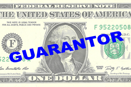 guarantor: Render illustration of GUARANTOR title on One Dollar bill as a background