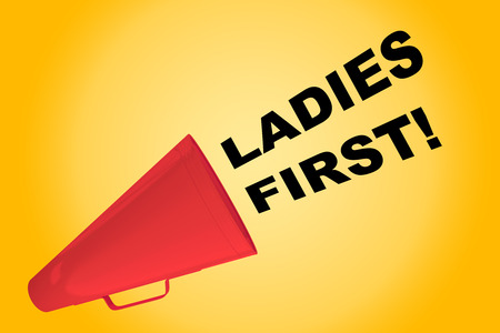 3D illustration of LADIES FIRST! title flowing from a loudspeaker