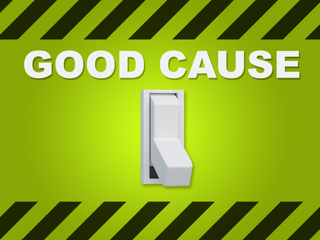 3D illustration of GOOD CAUSE title above an electric switch on green wall