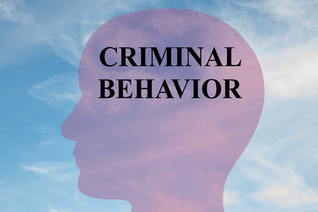 Render illustration of CRIMINAL BEHAVIOR title on head silhouette, with cloudy sky as a background.