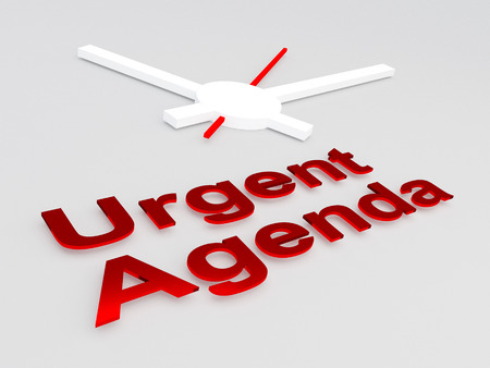 3D illustration of Urgent Agenda title with a clock as a background