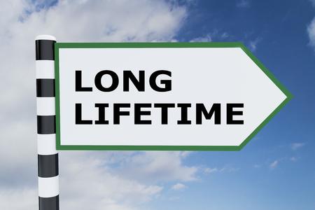3D illustration of LONG LIFETIME script on road sign