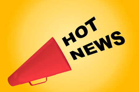 3D illustration of HOT NEWS title flowing from a loudspeaker