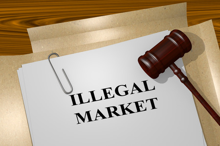 illegally: 3D illustration of ILLEGAL MARKET title on legal document Stock Photo