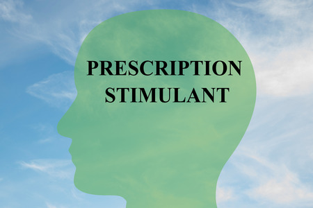 stimulant: Render illustration of PRESCRIPTION STIMULANT script on head silhouette, with cloudy sky as a background. Stock Photo