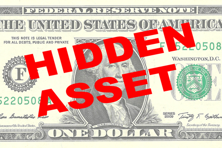 law of panama: Render illustration of HIDDEN ASSET title on One Dollar bill as a background Stock Photo