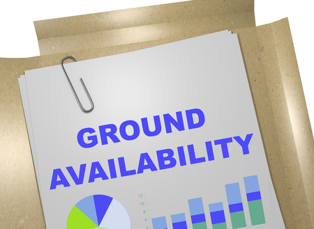 3D illustration of GROUND AVAILABILITY title on business document