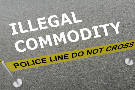 3D illustration of ILLEGAL COMMODITY title on the ground in a police arena