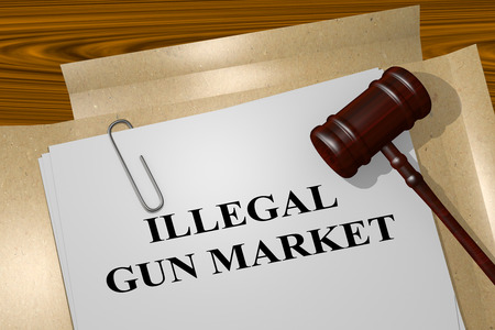 delinquency: 3D illustration of ILLEGAL GUN MARKET title on legal document Stock Photo