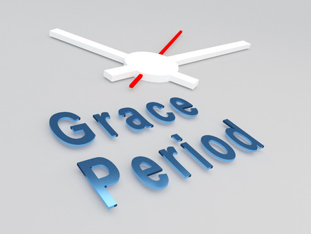 3D illustration of Grace Period title with a clock as a background