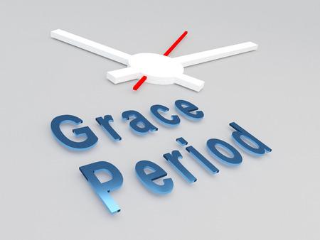 """Illustrazione 3D del titolo di """"Grace Period"""" con un orologio come sfondo"""