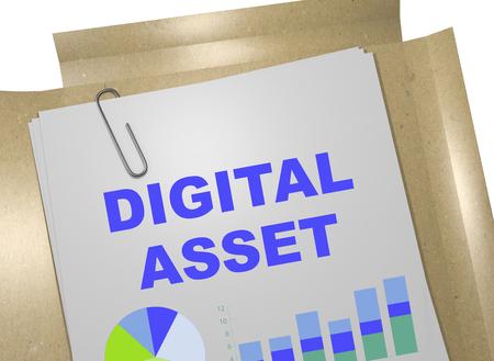 metadata: 3D illustration of DIGITAL ASSET title on business document Stock Photo