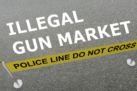 delinquency: 3D illustration of ILLEGAL GUN MARKET title on the ground in a police arena