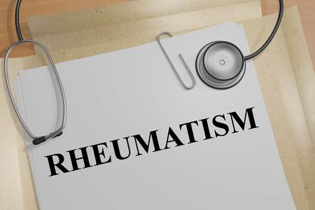 intoxication: 3D illustration of RHEUMATISM title on a medical document Stock Photo