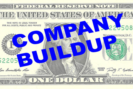 Render illustration of COMPANY BUILDUP title on One Dollar bill as a background