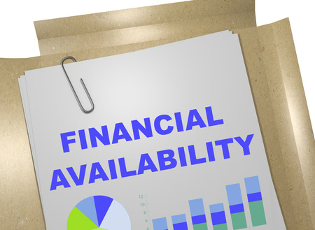 excess: 3D illustration of FINANCIAL AVAILABILITY title on business document Stock Photo