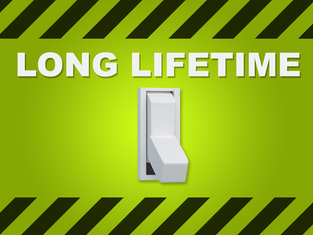 3D illustration of LONG LIFETIME title above an electric switch on green wall
