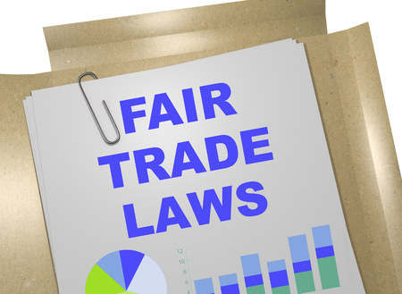 3D illustration of FAIR TRADE LAWS title on business document