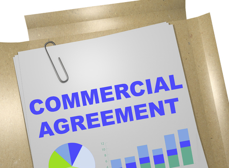 3D illustration of COMMERCIAL AGREEMENT title on business document Stock Photo